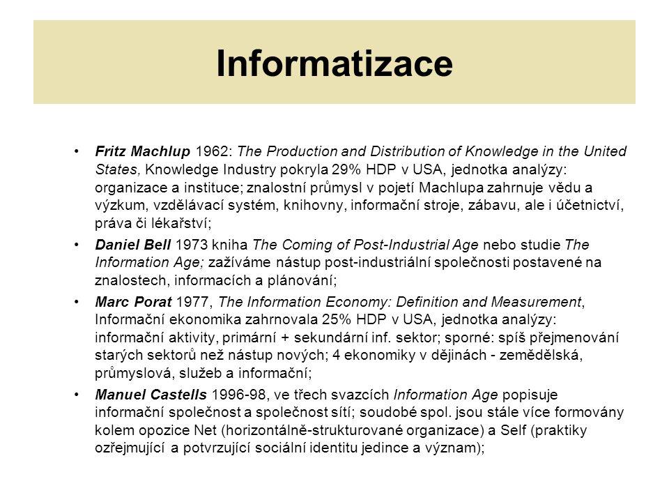Informatizace Fritz Machlup 1962: The Production and Distribution of Knowledge in the United States, Knowledge Industry pokryla 29% HDP v USA, jednotka analýzy: organizace a instituce; znalostní průmysl v pojetí Machlupa zahrnuje vědu a výzkum, vzdělávací systém, knihovny, informační stroje, zábavu, ale i účetnictví, práva či lékařství; Daniel Bell 1973 kniha The Coming of Post-Industrial Age nebo studie The Information Age; zažíváme nástup post-industriální společnosti postavené na znalostech, informacích a plánování; Marc Porat 1977, The Information Economy: Definition and Measurement, Informační ekonomika zahrnovala 25% HDP v USA, jednotka analýzy: informační aktivity, primární + sekundární inf.