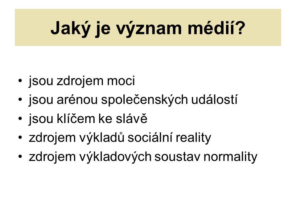Jaký je význam médií.