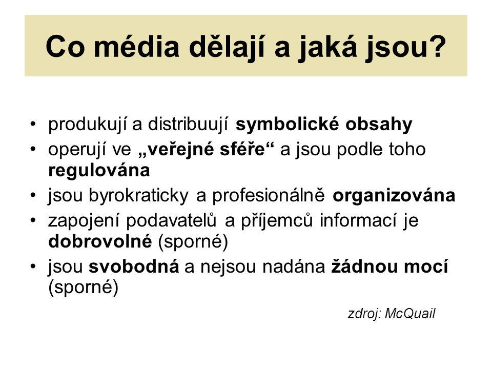 Co média dělají a jaká jsou.