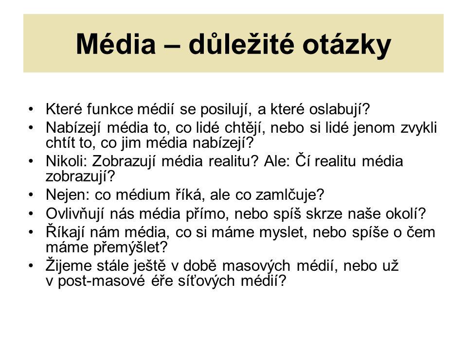 Média – důležité otázky Které funkce médií se posilují, a které oslabují.