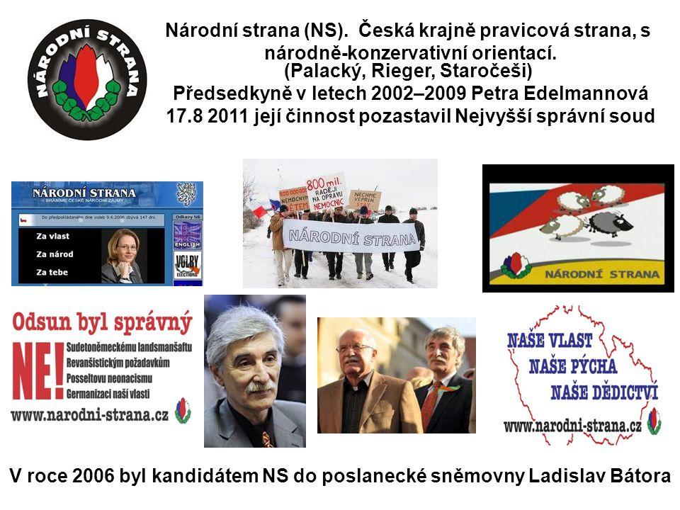Národní strana (NS). Česká krajně pravicová strana, s národně-konzervativní orientací.