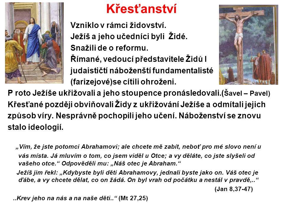 Křesťanství Vzniklo v rámci židovství. Ježíš a jeho učedníci byli Židé.