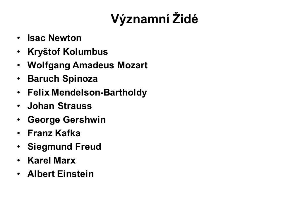 Významní Židé Isac Newton Kryštof Kolumbus Wolfgang Amadeus Mozart Baruch Spinoza Felix Mendelson-Bartholdy Johan Strauss George Gershwin Franz Kafka Siegmund Freud Karel Marx Albert Einstein