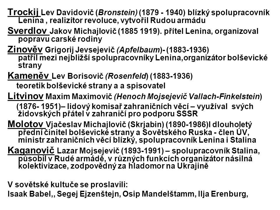 Trockij Lev Davidovič (Bronstein) (1879 - 1940) blízký spolupracovník Lenina, realizítor revoluce, vytvořil Rudou armádu Sverdlov Jakov Michajlovič (1885 1919).
