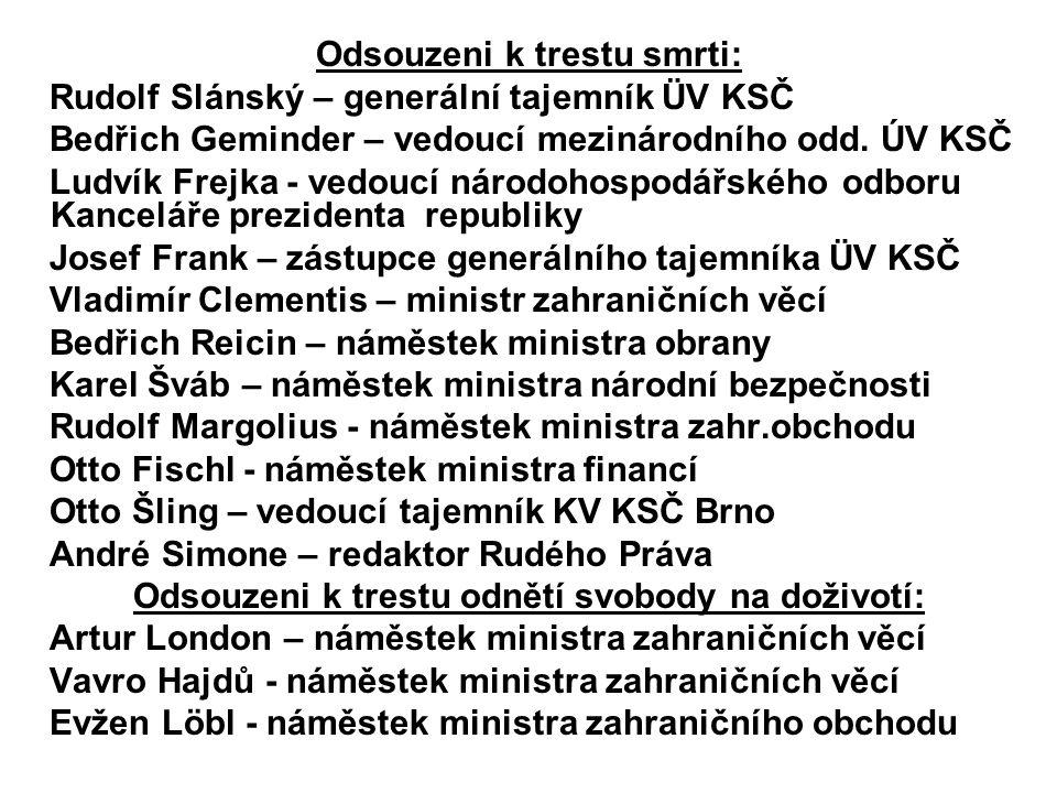 Odsouzeni k trestu smrti: Rudolf Slánský – generální tajemník ÜV KSČ Bedřich Geminder – vedoucí mezinárodního odd.
