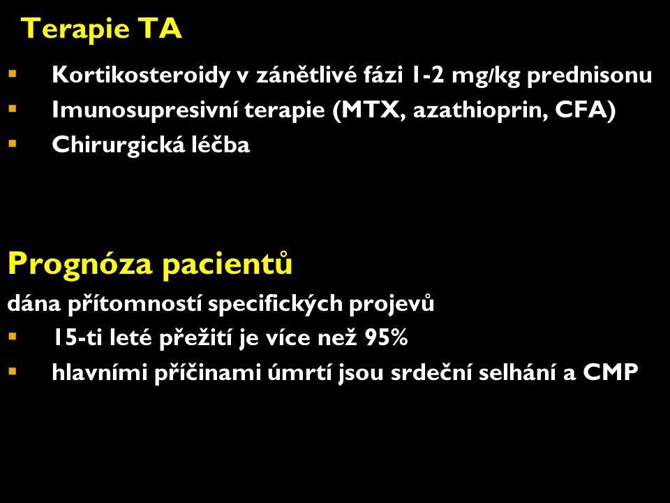 Terapie TA  Kortikosteroidy v zánětlivé fázi 1-2 mg / kg prednisonu  Imunosupresivní terapie (MTX, azathioprin, CFA)  Chirurgická léčba Prognóza pacientů dána přítomností specifických projevů  15-ti leté přežití je více než 95%  hlavními příčinami úmrtí jsou srdeční selhání a CMP