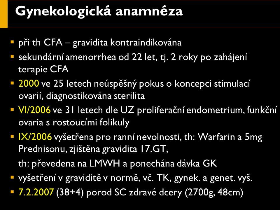 Gynekologick á anamn é za  při th CFA – gravidita kontraindikována  sekundární amenorrhea od 22 let, tj. 2 roky po zahájení terapie CFA  2000 ve 25