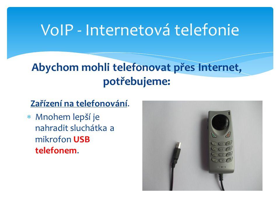 Zařízení na telefonování.  Mnohem lepší je nahradit sluchátka a mikrofon USB telefonem. VoIP - Internetová telefonie Abychom mohli telefonovat přes I