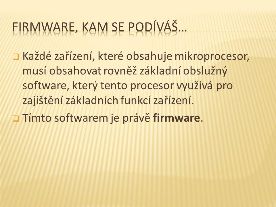  Každé zařízení, které obsahuje mikroprocesor, musí obsahovat rovněž základní obslužný software, který tento procesor využívá pro zajištění základních funkcí zařízení.