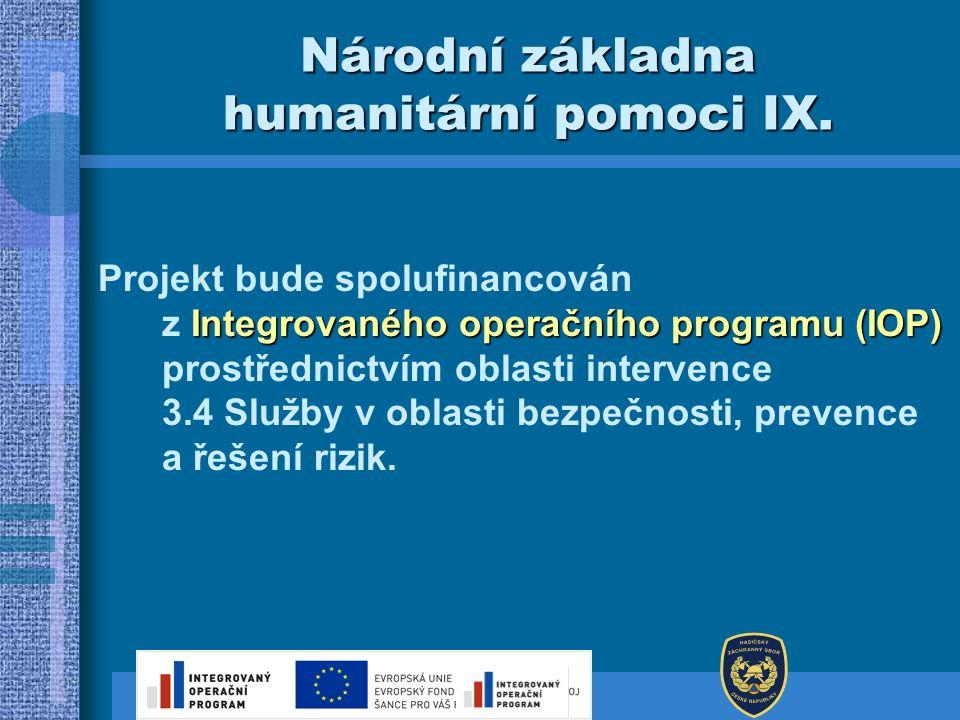 Národní základna humanitární pomoci IX. Integrovaného operačního programu (IOP) Projekt bude spolufinancován z Integrovaného operačního programu (IOP)