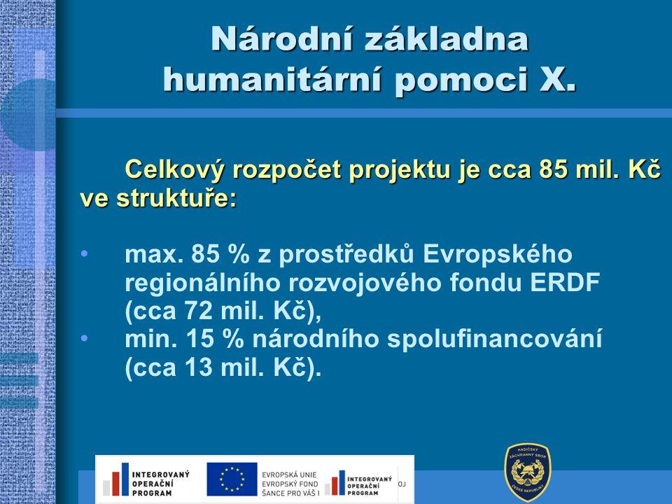 Národní základna humanitární pomoci X. Celkový rozpočet projektu je cca 85 mil. Kč ve struktuře: max. 85 % z prostředků Evropského regionálního rozvoj