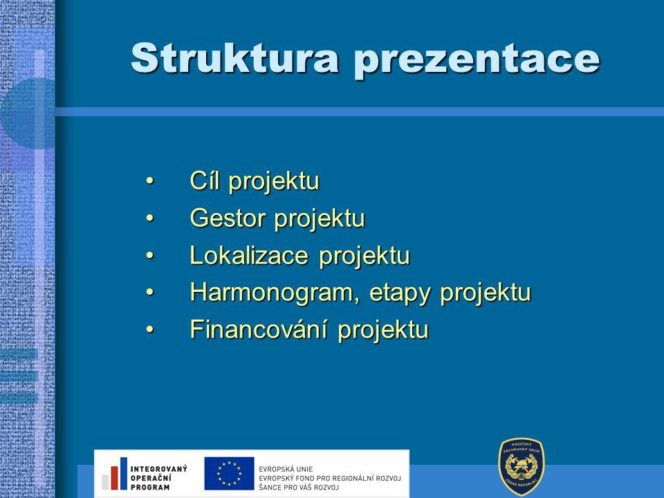 Struktura prezentace Cíl projektuCíl projektu Gestor projektuGestor projektu Lokalizace projektuLokalizace projektu Harmonogram, etapy projektuHarmono