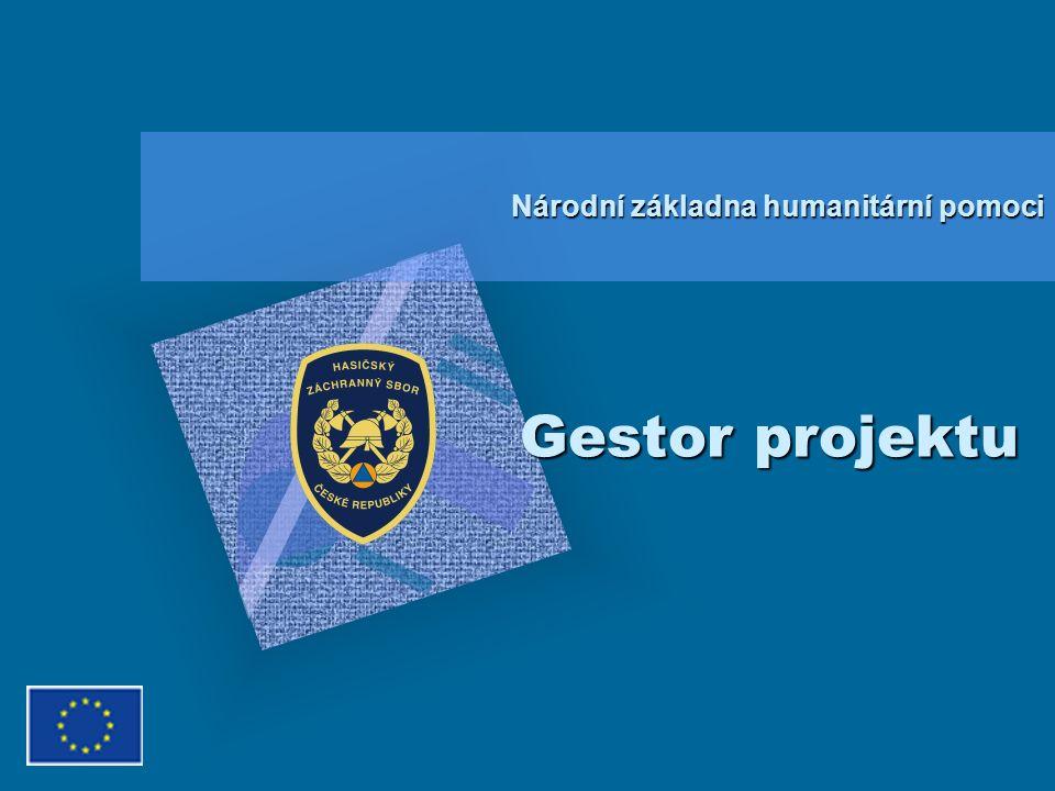 Gestor projektu Národní základna humanitární pomoci