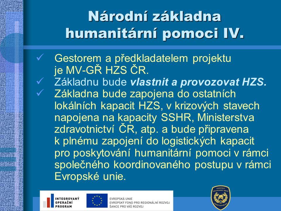 Národní základna humanitární pomoci IV. Gestorem a předkladatelem projektu je MV-GŘ HZS ČR. Základnu bude vlastnit a provozovat HZS. Základna bude zap