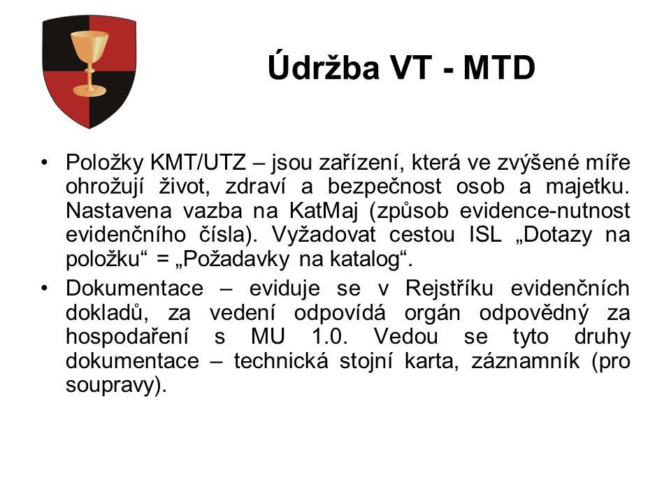 Údržba VT - MTD Položky KMT/UTZ – jsou zařízení, která ve zvýšené míře ohrožují život, zdraví a bezpečnost osob a majetku.