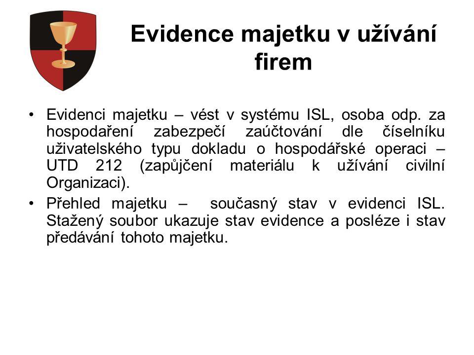 Evidence majetku v užívání firem Evidenci majetku – vést v systému ISL, osoba odp.