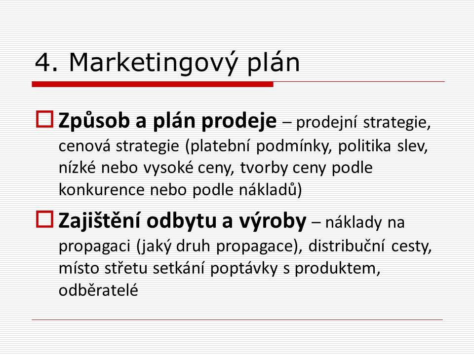  Způsob a plán prodeje – prodejní strategie, cenová strategie (platební podmínky, politika slev, nízké nebo vysoké ceny, tvorby ceny podle konkurence