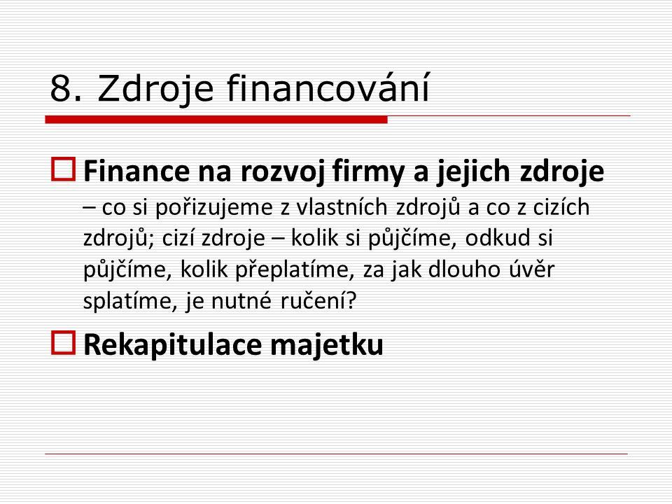 8. Zdroje financování  Finance na rozvoj firmy a jejich zdroje – co si pořizujeme z vlastních zdrojů a co z cizích zdrojů; cizí zdroje – kolik si půj