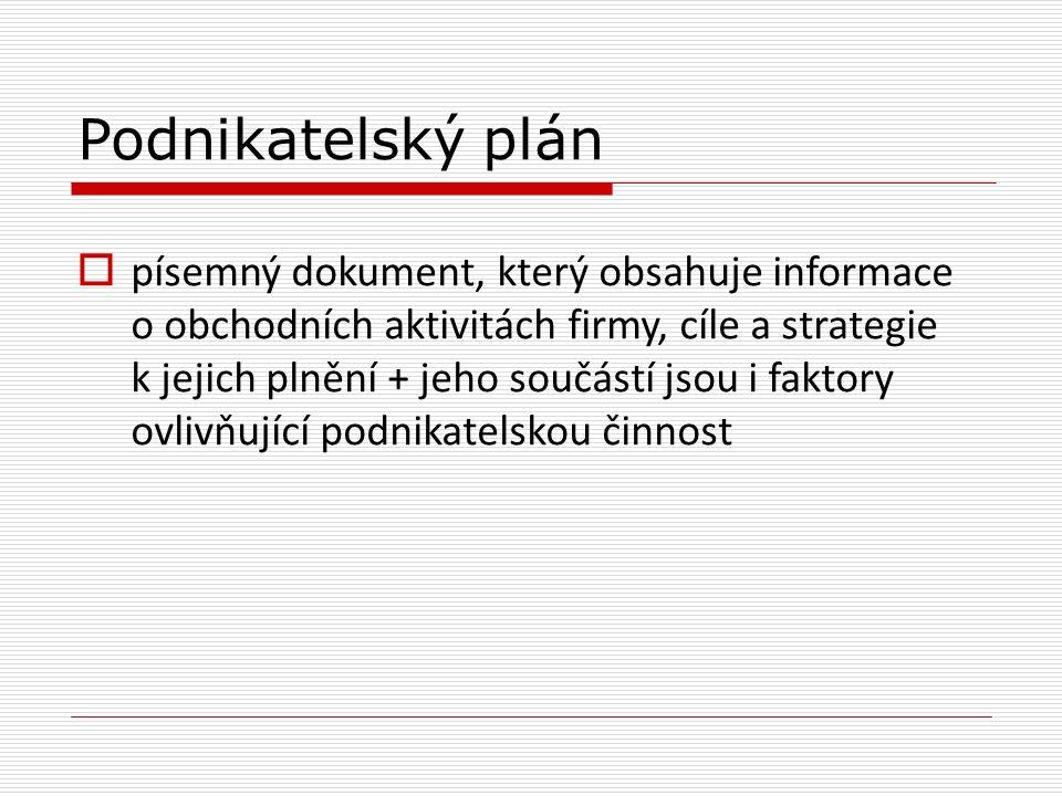 Podnikatelský plán  písemný dokument, který obsahuje informace o obchodních aktivitách firmy, cíle a strategie k jejich plnění + jeho součástí jsou i