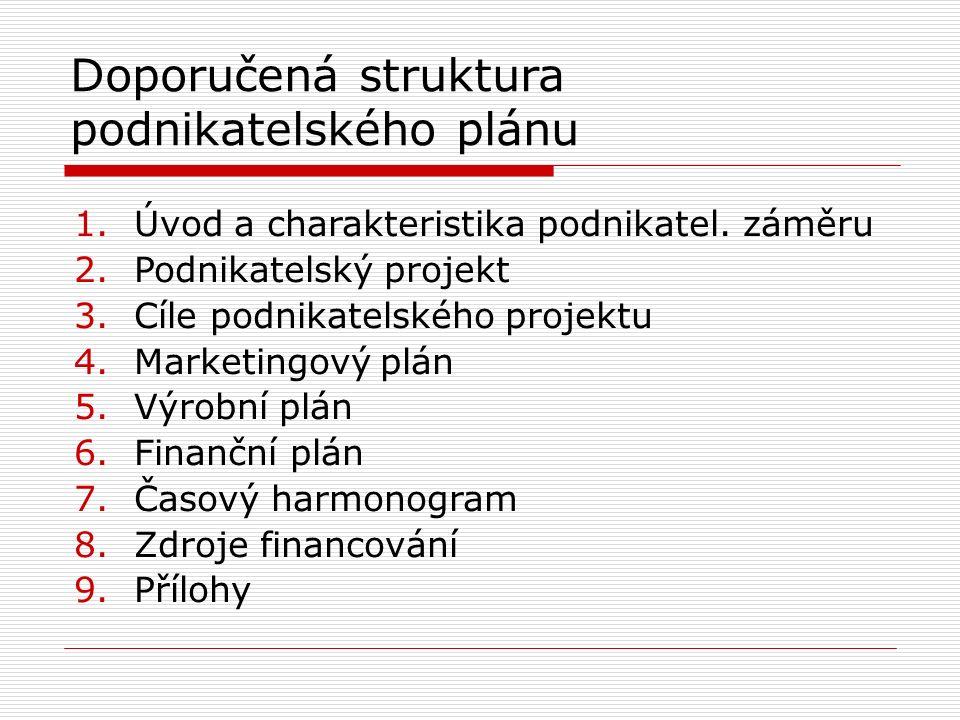 Doporučená struktura podnikatelského plánu 1.Úvod a charakteristika podnikatel. záměru 2.Podnikatelský projekt 3.Cíle podnikatelského projektu 4.Marke