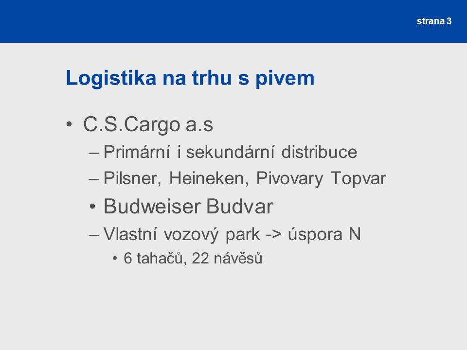 strana 3 Logistika na trhu s pivem C.S.Cargo a.s –Primární i sekundární distribuce –Pilsner, Heineken, Pivovary Topvar Budweiser Budvar –Vlastní vozový park -> úspora N 6 tahačů, 22 návěsů