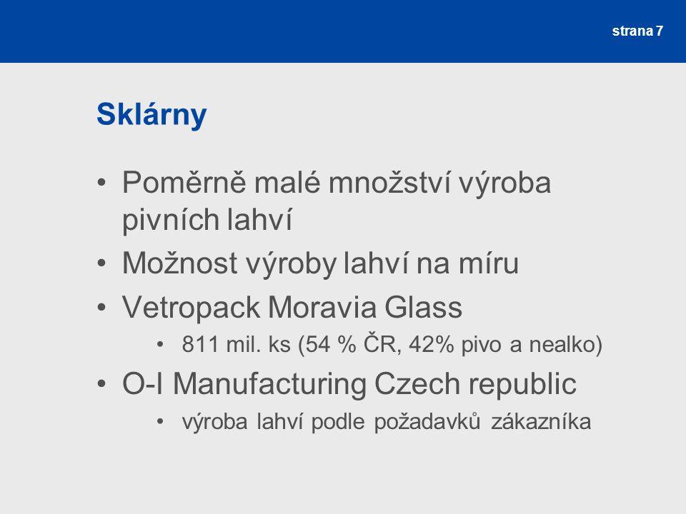 Sklárny Poměrně malé množství výroba pivních lahví Možnost výroby lahví na míru Vetropack Moravia Glass 811 mil.