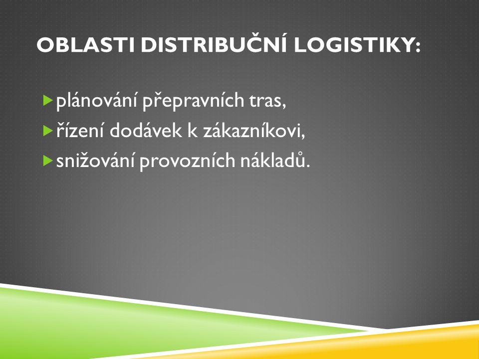 OBLASTI DISTRIBUČNÍ LOGISTIKY:  plánování přepravních tras,  řízení dodávek k zákazníkovi,  snižování provozních nákladů.