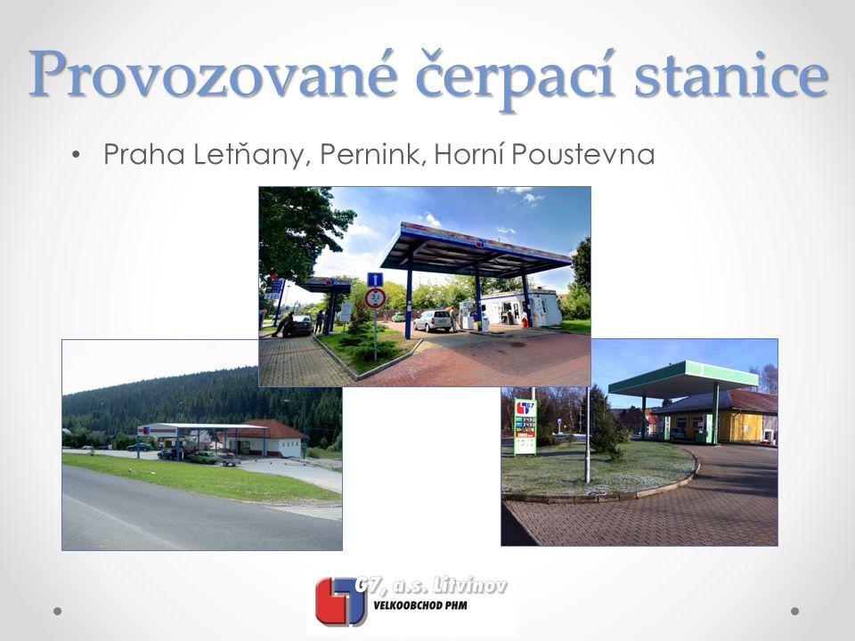Provozované čerpací stanice Praha Letňany, Pernink, Horní Poustevna