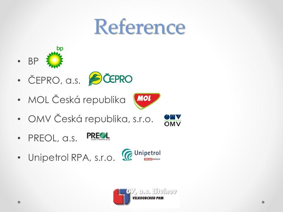 Reference BP ČEPRO, a.s. MOL Česká republika OMV Česká republika, s.r.o. PREOL, a.s. Unipetrol RPA, s.r.o.
