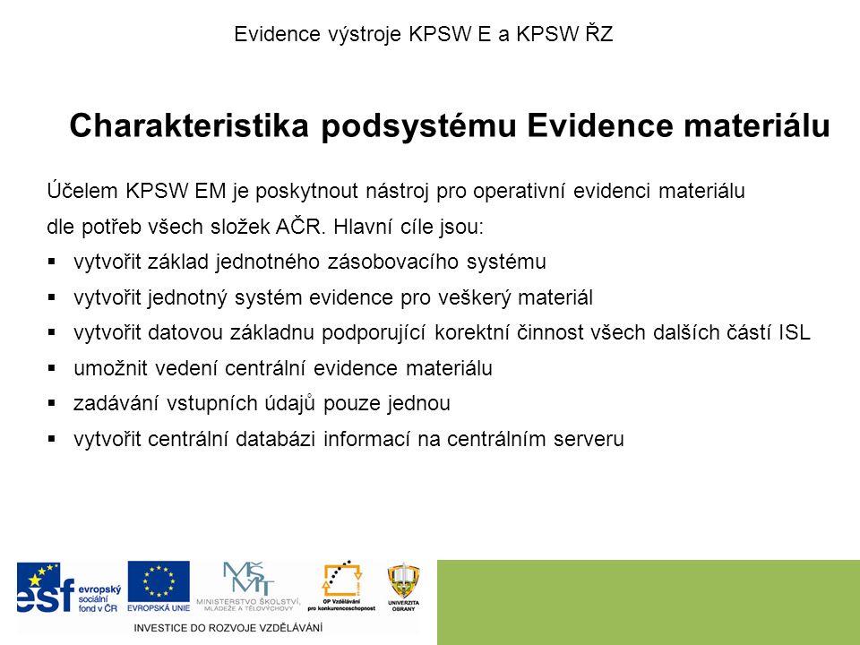 Charakteristika podsystému Evidence materiálu Účelem KPSW EM je poskytnout nástroj pro operativní evidenci materiálu dle potřeb všech složek AČR. Hlav