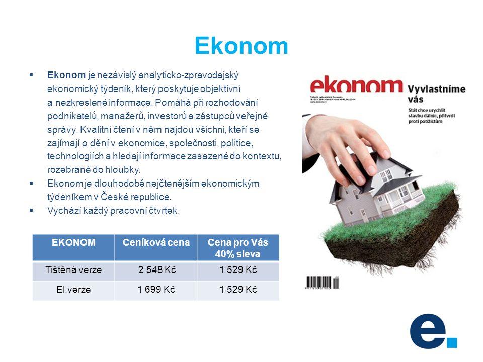Ekonom  Ekonom je nezávislý analyticko-zpravodajský ekonomický týdeník, který poskytuje objektivní a nezkreslené informace.
