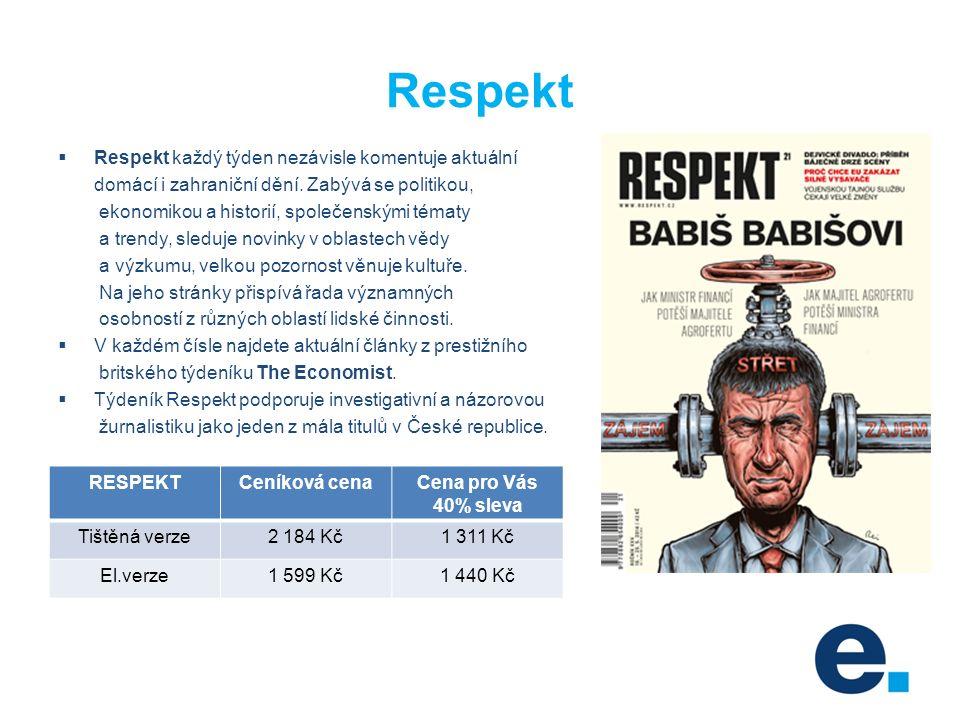 Respekt  Respekt každý týden nezávisle komentuje aktuální domácí i zahraniční dění.