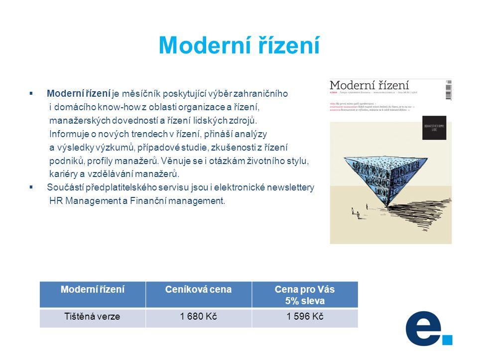 Moderní řízení  Moderní řízení je měsíčník poskytující výběr zahraničního i domácího know-how z oblasti organizace a řízení, manažerských dovedností a řízení lidských zdrojů.
