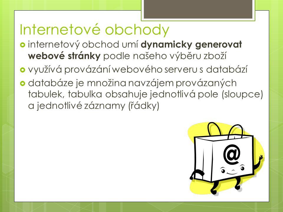 Internetové obchody  internetový obchod umí dynamicky generovat webové stránky podle našeho výběru zboží  využívá provázání webového serveru s databází  databáze je množina navzájem provázaných tabulek, tabulka obsahuje jednotlivá pole (sloupce) a jednotlivé záznamy (řádky)