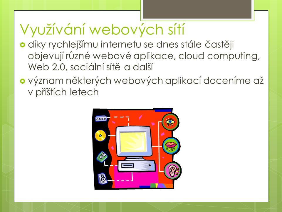 Využívání webových sítí  díky rychlejšímu internetu se dnes stále častěji objevují různé webové aplikace, cloud computing, Web 2.0, sociální sítě a další  význam některých webových aplikací doceníme až v příštích letech