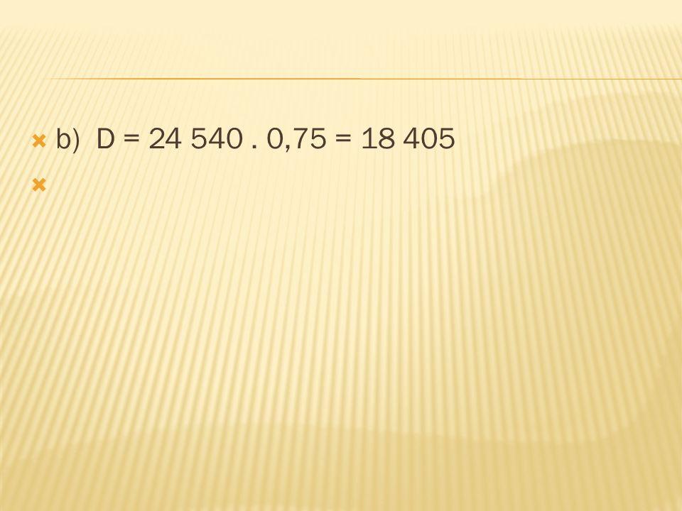  b) D = 24 540. 0,75 = 18 405 