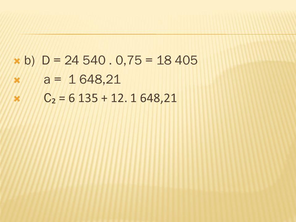  b) D = 24 540. 0,75 = 18 405  a = 1 648,21  C ₂ = 6 135 + 12. 1 648,21