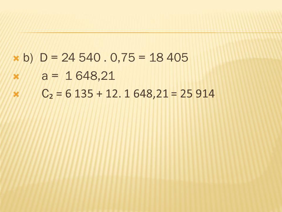  b) D = 24 540. 0,75 = 18 405  a = 1 648,21  C ₂ = 6 135 + 12. 1 648,21 = 25 914