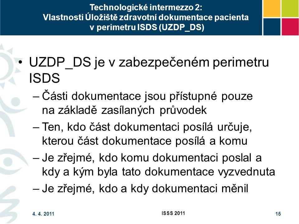 4. 4. 2011 ISSS 2011 15 Technologické intermezzo 2: Vlastnosti Úložiště zdravotní dokumentace pacienta v perimetru ISDS (UZDP_DS) UZDP_DS je v zabezpe