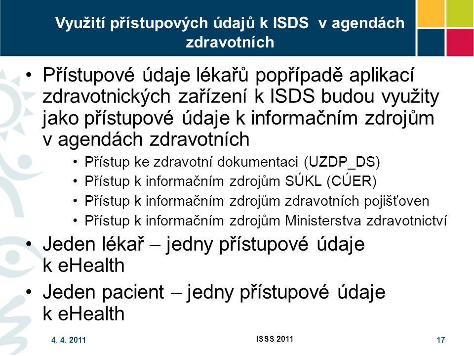 4. 4. 2011 ISSS 2011 17 Využití přístupových údajů k ISDS v agendách zdravotních Přístupové údaje lékařů popřípadě aplikací zdravotnických zařízení k