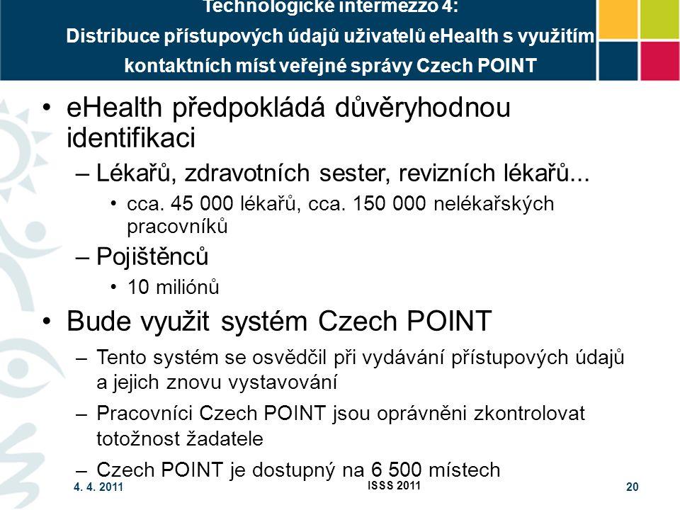 4. 4. 2011 ISSS 2011 20 Technologické intermezzo 4: Distribuce přístupových údajů uživatelů eHealth s využitím kontaktních míst veřejné správy Czech P