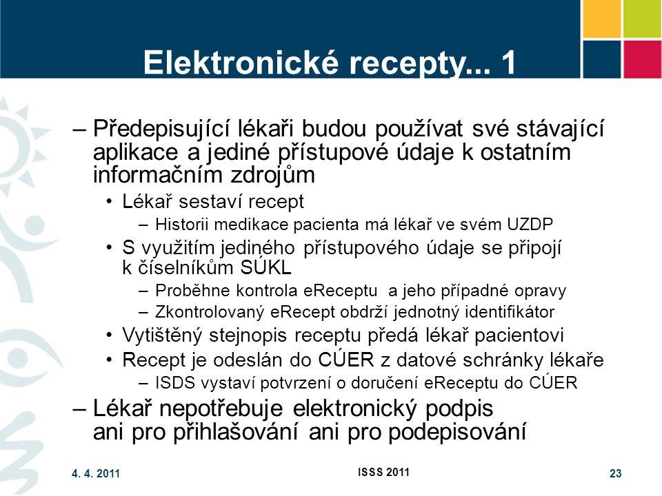 4. 4. 2011 ISSS 2011 23 Elektronické recepty... 1 –Předepisující lékaři budou používat své stávající aplikace a jediné přístupové údaje k ostatním inf