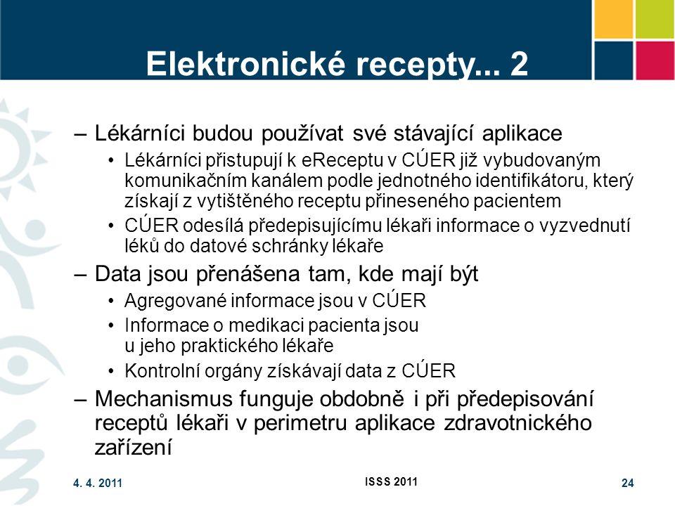 4. 4. 2011 ISSS 2011 24 Elektronické recepty... 2 –Lékárníci budou používat své stávající aplikace Lékárníci přistupují k eReceptu v CÚER již vybudova