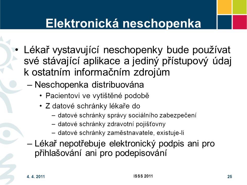 4. 4. 2011 ISSS 2011 25 Elektronická neschopenka Lékař vystavující neschopenky bude používat své stávající aplikace a jediný přístupový údaj k ostatní