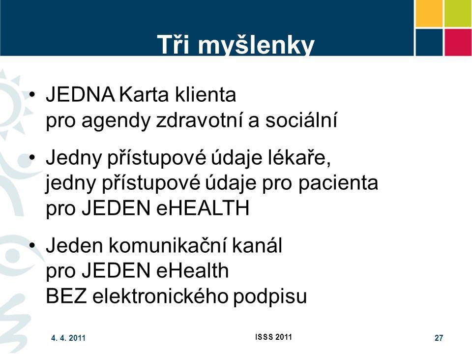 4. 4. 2011 ISSS 2011 27 Tři myšlenky JEDNA Karta klienta pro agendy zdravotní a sociální Jedny přístupové údaje lékaře, jedny přístupové údaje pro pac