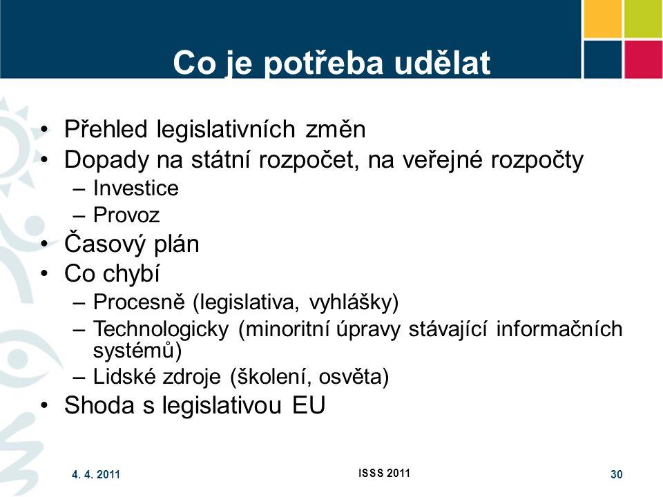 4. 4. 2011 ISSS 2011 30 Co je potřeba udělat Přehled legislativních změn Dopady na státní rozpočet, na veřejné rozpočty –Investice –Provoz Časový plán