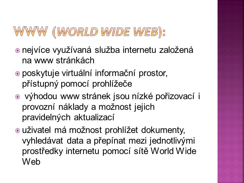  nejvíce využívaná služba internetu založená na www stránkách  poskytuje virtuální informační prostor, přístupný pomocí prohlížeče  výhodou www str