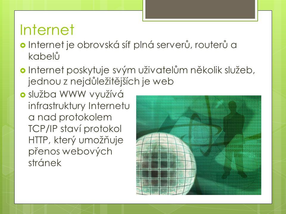 Hypertext a URL  to, co dělá web webem, jsou hypertextové odkazy na jiné stránky  jedná se vlastně o provázání dokumentů pomocí odkazů  URL - Uniform Resource Locator  je to jednoznačná adresa zdroje na Internetu  aby bylo možné dokumenty provázat odkazy, musí mít nejprve jednoznačnou identifikaci  URL obsahuje  protokol, kterým můžeme zdroj zpřístupnit (HTTP)  doménovou adresu serveru, např.