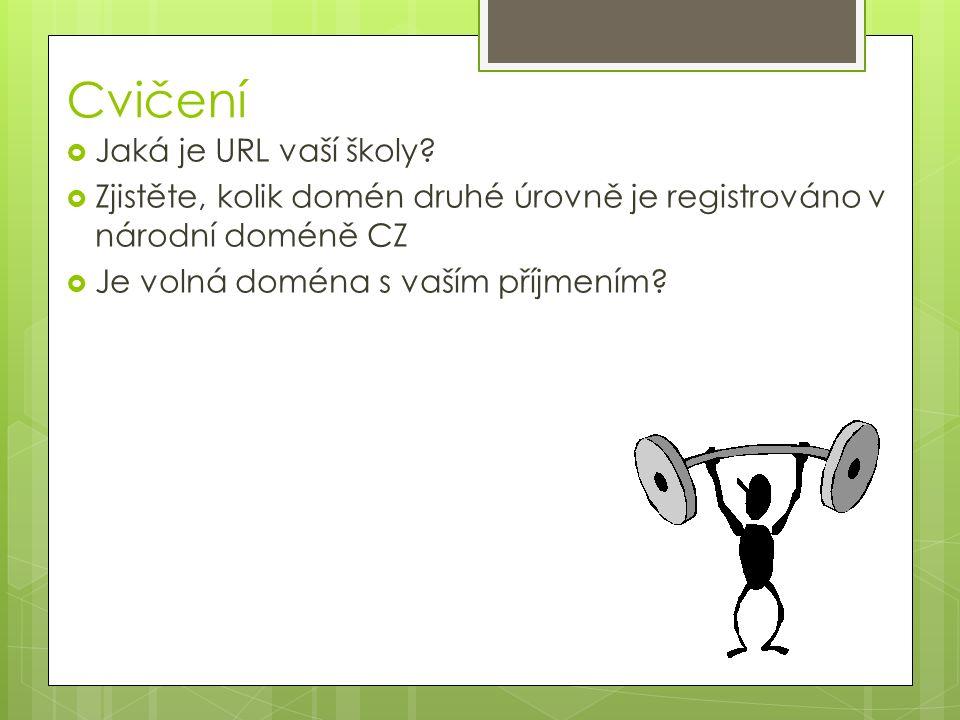 Cvičení  Jaká je URL vaší školy?  Zjistěte, kolik domén druhé úrovně je registrováno v národní doméně CZ  Je volná doména s vaším příjmením?
