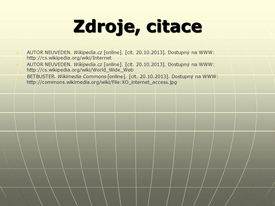Zdroje, citace AUTOR NEUVEDEN.Wikipedia.cz [online].